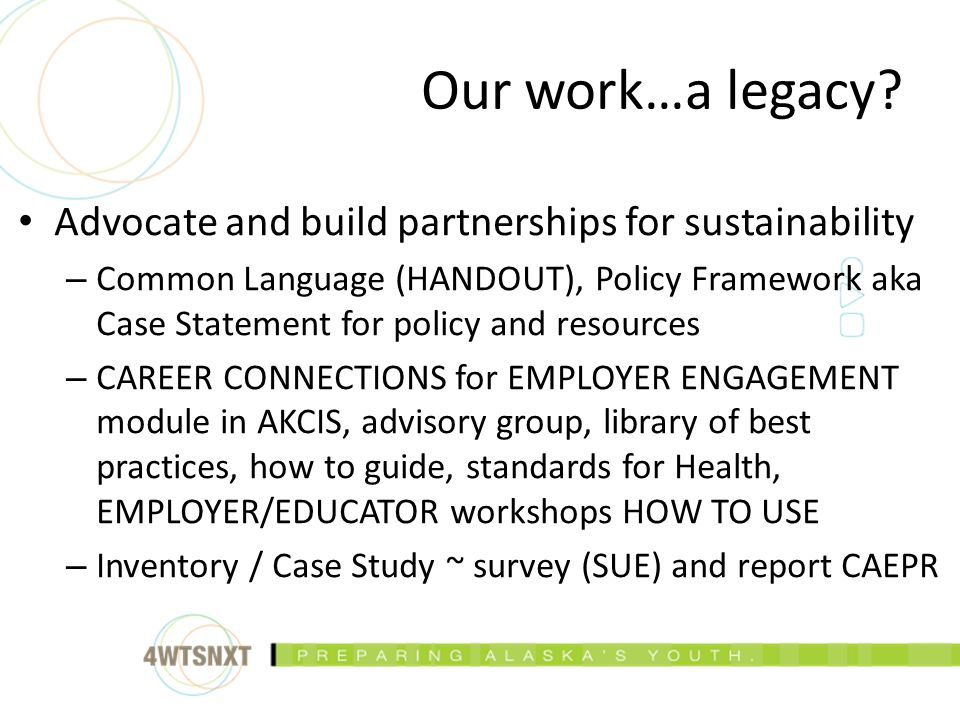 Advocate and build partnerships for sustainability – Common Language (HANDOUT), Policy Framework aka Case Statement for policy and resources – CAREER CONNECTIONS for EMPLOYER ENGAGEMENT module in AKCIS, advisory group, library of best practices, how to guide, standards for Health, EMPLOYER/EDUCATOR workshops HOW TO USE – Inventory / Case Study ~ survey (SUE) and report CAEPR Our work…a legacy