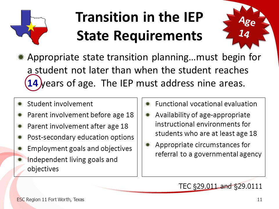  Appropriate state transition planning…must begin for a student not later than when the student reaches 14 years of age. The IEP must address nine ar