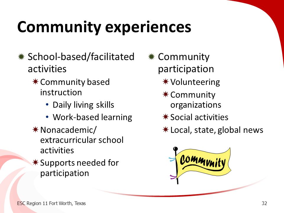 Community experiences  School-based/facilitated activities  Community based instruction Daily living skills Work-based learning  Nonacademic/ extra