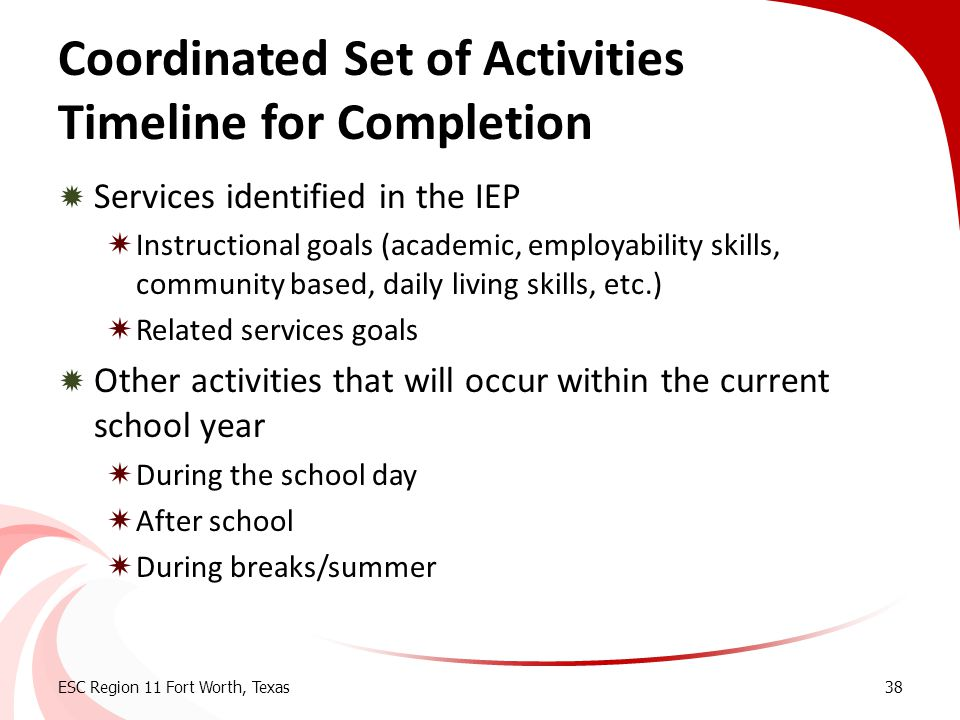 Coordinated Set of Activities Timeline for Completion  Services identified in the IEP  Instructional goals (academic, employability skills, communit