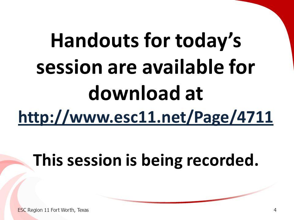 Transition Hot Topics: Transition Hot Topics: Developing a Coordinated Set of Activities ESC Region 11 Fort Worth, Texas5
