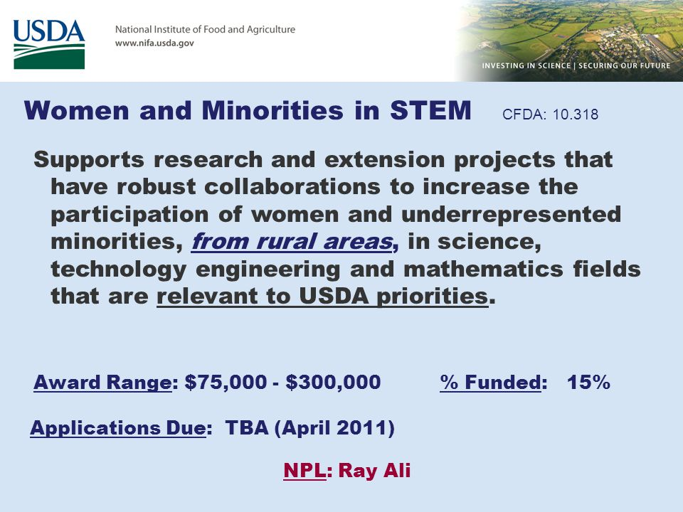 Women and Minorities in STEM CFDA: 10.318 Supports research and extension projects that have robust collaborations to increase the participation of wo
