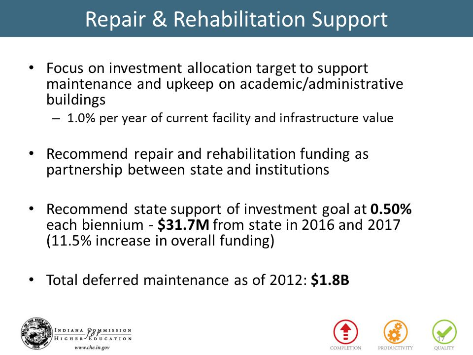 Repair & Rehabilitation Support Focus on investment allocation target to support maintenance and upkeep on academic/administrative buildings – 1.0% per year of current facility and infrastructure value Recommend repair and rehabilitation funding as partnership between state and institutions Recommend state support of investment goal at 0.50% each biennium - $31.7M from state in 2016 and 2017 (11.5% increase in overall funding) Total deferred maintenance as of 2012: $1.8B 17