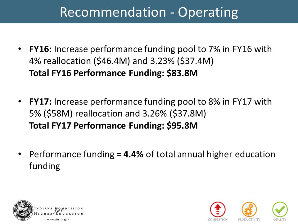 Recommendation - Operating FY16: Increase performance funding pool to 7% in FY16 with 4% reallocation ($46.4M) and 3.23% ($37.4M) Total FY16 Performance Funding: $83.8M FY17: Increase performance funding pool to 8% in FY17 with 5% ($58M) reallocation and 3.26% ($37.8M) Total FY17 Performance Funding: $95.8M Performance funding = 4.4% of total annual higher education funding 9