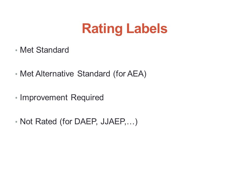 Rating Labels Met Standard Met Alternative Standard (for AEA) Improvement Required Not Rated (for DAEP, JJAEP,…) 4