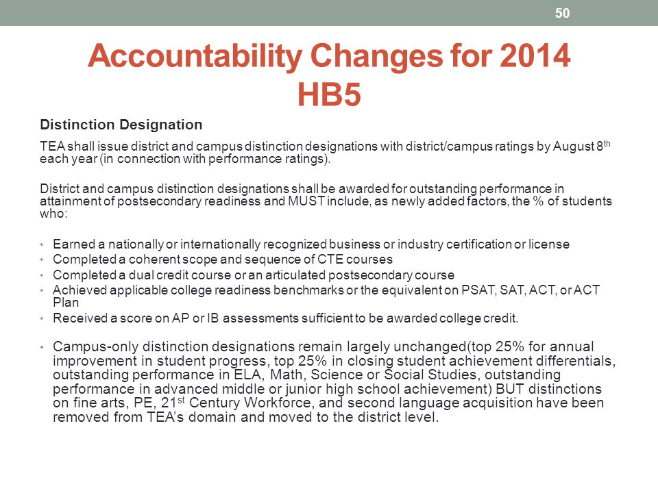Accountability Changes for 2014 HB5 Distinction Designation TEA shall issue district and campus distinction designations with district/campus ratings by August 8 th each year (in connection with performance ratings).