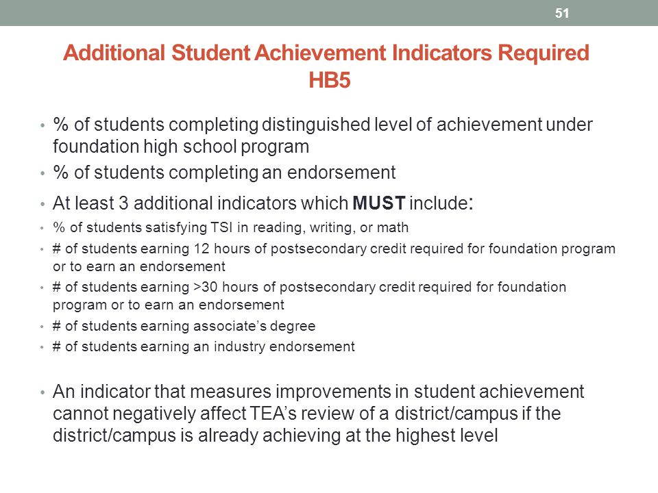 Additional Student Achievement Indicators Required HB5 % of students completing distinguished level of achievement under foundation high school program % of students completing an endorsement At least 3 additional indicators which MUST include : % of students satisfying TSI in reading, writing, or math # of students earning 12 hours of postsecondary credit required for foundation program or to earn an endorsement # of students earning >30 hours of postsecondary credit required for foundation program or to earn an endorsement # of students earning associate's degree # of students earning an industry endorsement An indicator that measures improvements in student achievement cannot negatively affect TEA's review of a district/campus if the district/campus is already achieving at the highest level 51