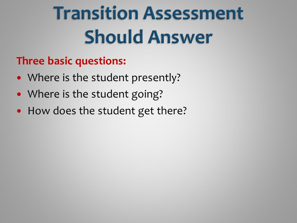 Three basic questions: Where is the student presently? Where is the student going? How does the student get there?