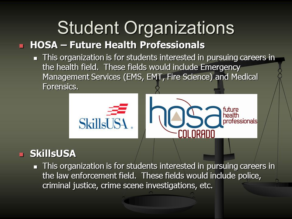 Student Organizations HOSA – Future Health Professionals HOSA – Future Health Professionals This organization is for students interested in pursuing careers in the health field.