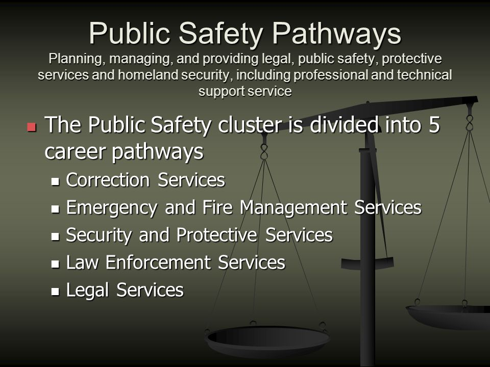 Public Safety Pathways Planning, managing, and providing legal, public safety, protective services and homeland security, including professional and t