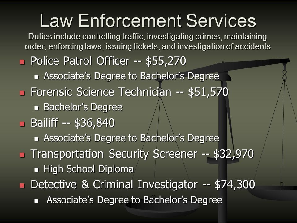 Law Enforcement Services Duties include controlling traffic, investigating crimes, maintaining order, enforcing laws, issuing tickets, and investigati