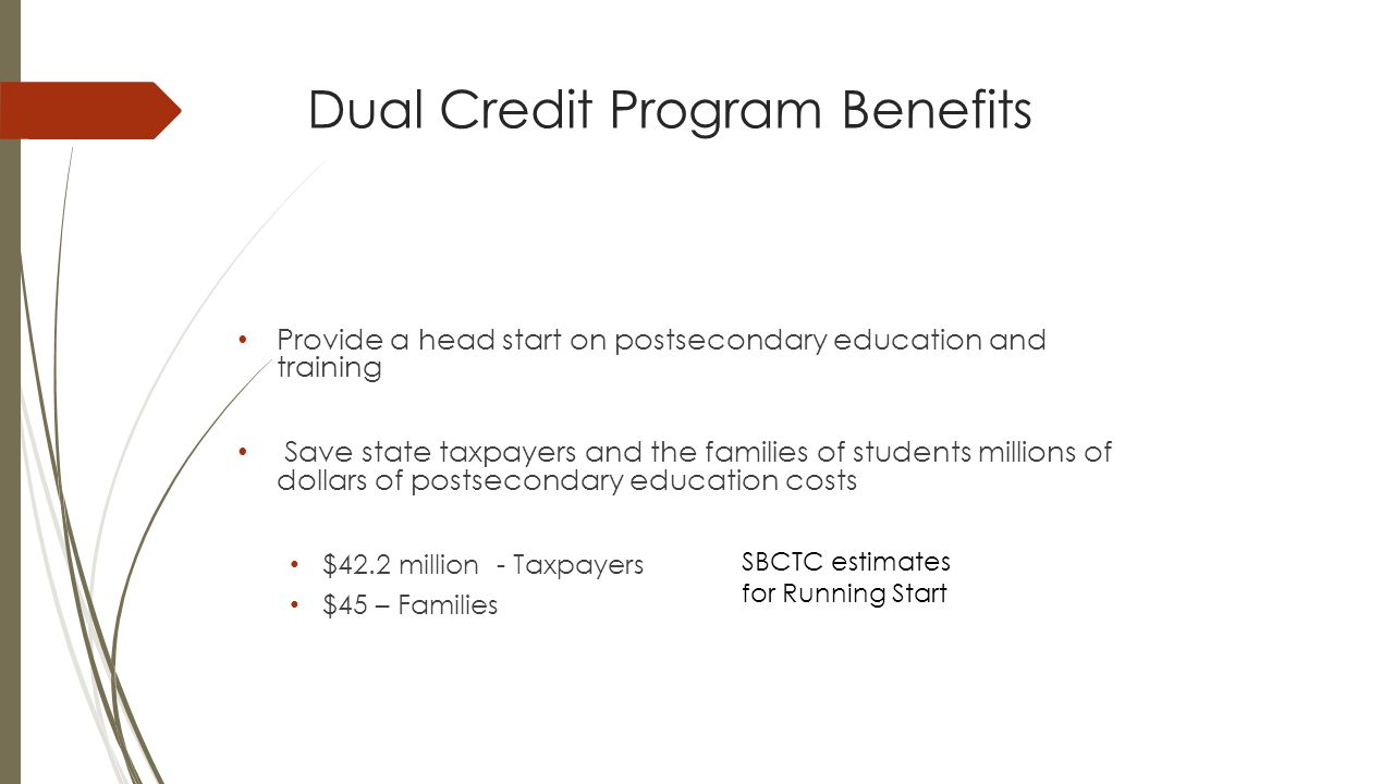Dual Credit Program Benefits Provide a head start on postsecondary education and training Save state taxpayers and the families of students millions of dollars of postsecondary education costs $42.2 million - Taxpayers $45 – Families SBCTC estimates for Running Start