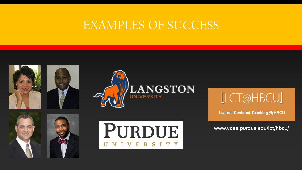 EXAMPLES OF SUCCESS http://www.ydae.purdue.edu/LCT/HBCU/ www.ydae.purdue.edu/lct/hbcu/
