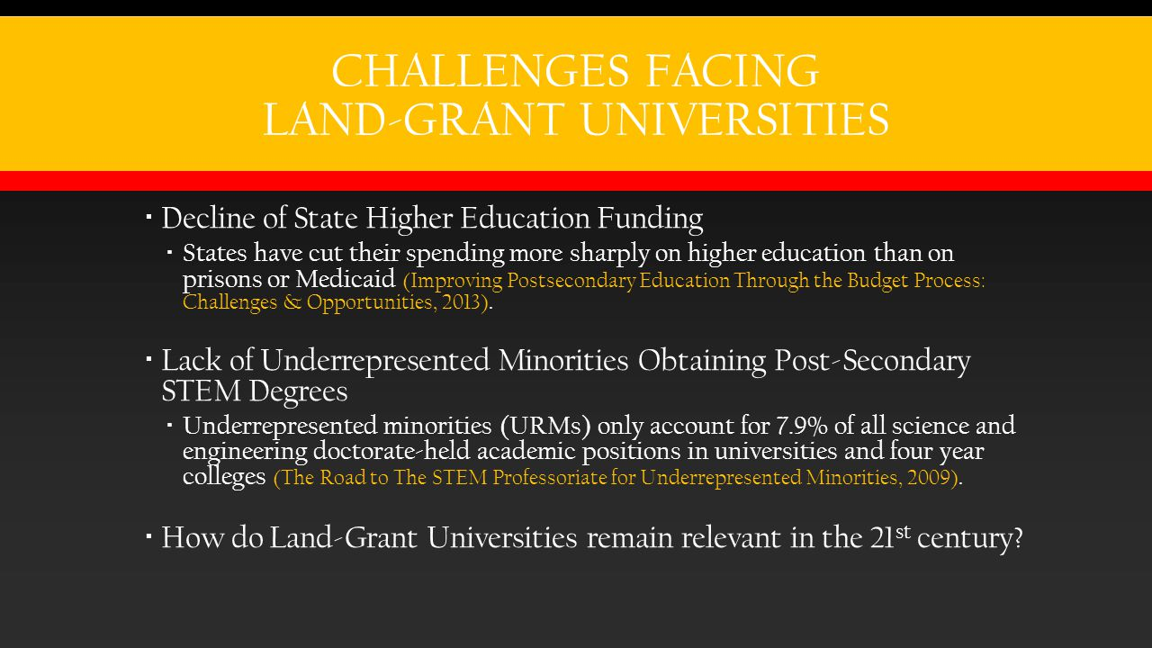 CHALLENGES FACING LAND-GRANT UNIVERSITIES  Decline of State Higher Education Funding  States have cut their spending more sharply on higher education than on prisons or Medicaid (Improving Postsecondary Education Through the Budget Process: Challenges & Opportunities, 2013).