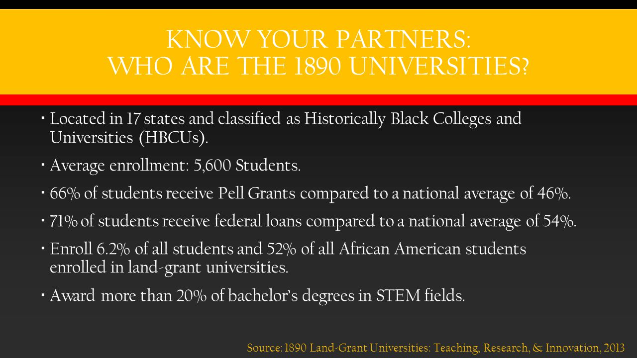 KNOW YOUR PARTNERS: WHO ARE THE 1890 UNIVERSITIES.