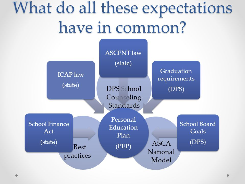 DPS School Counseling Standards ASCA National Model Best practices What do all these expectations have in common? Personal Education Plan (PEP) School
