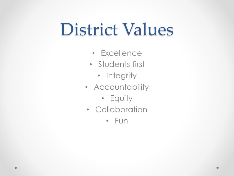 District Values Excellence Students first Integrity Accountability Equity Collaboration Fun