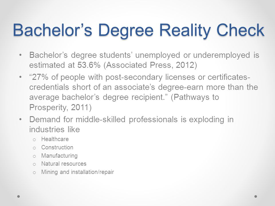 """Bachelor's Degree Reality Check Bachelor's degree students' unemployed or underemployed is estimated at 53.6% (Associated Press, 2012) """"27% of people"""