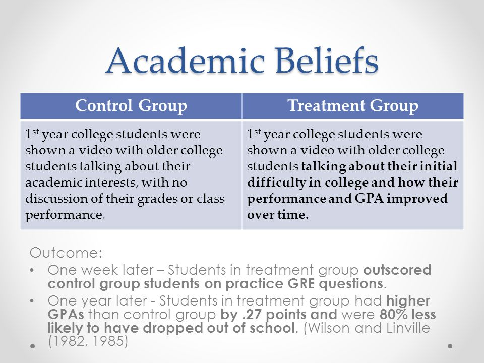 Academic Beliefs Outcome: One week later – Students in treatment group outscored control group students on practice GRE questions. One year later - St