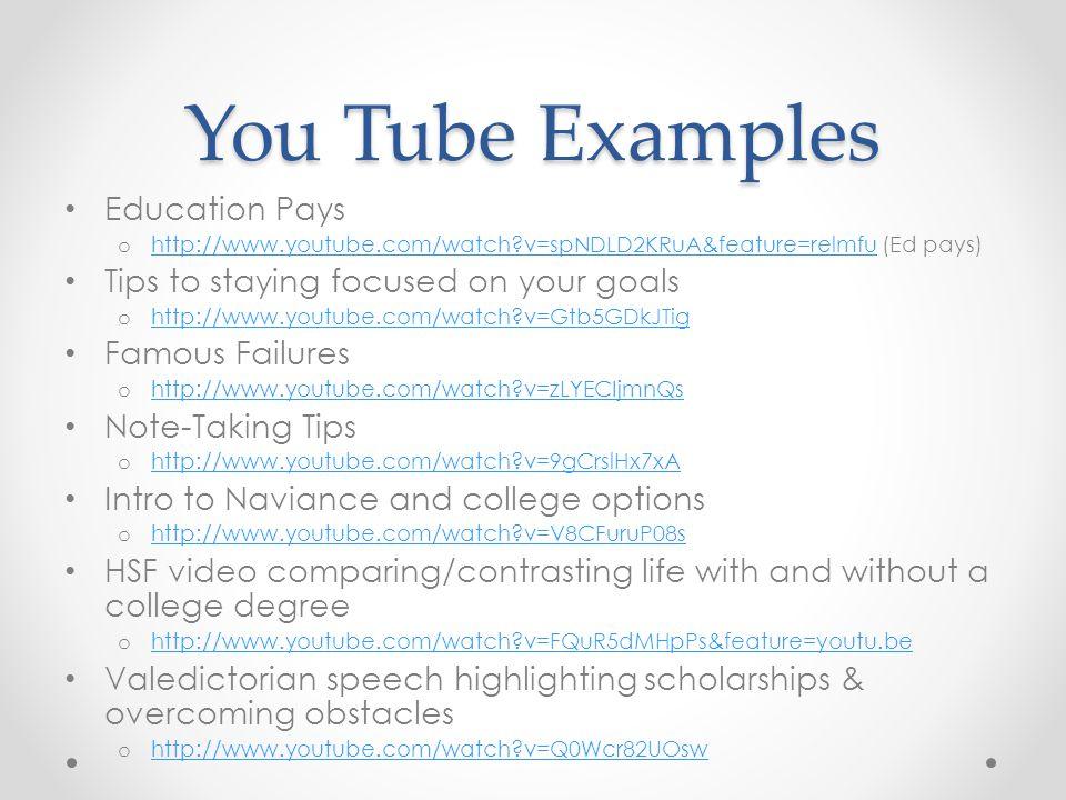 You Tube Examples Education Pays o http://www.youtube.com/watch?v=spNDLD2KRuA&feature=relmfu (Ed pays) http://www.youtube.com/watch?v=spNDLD2KRuA&feat