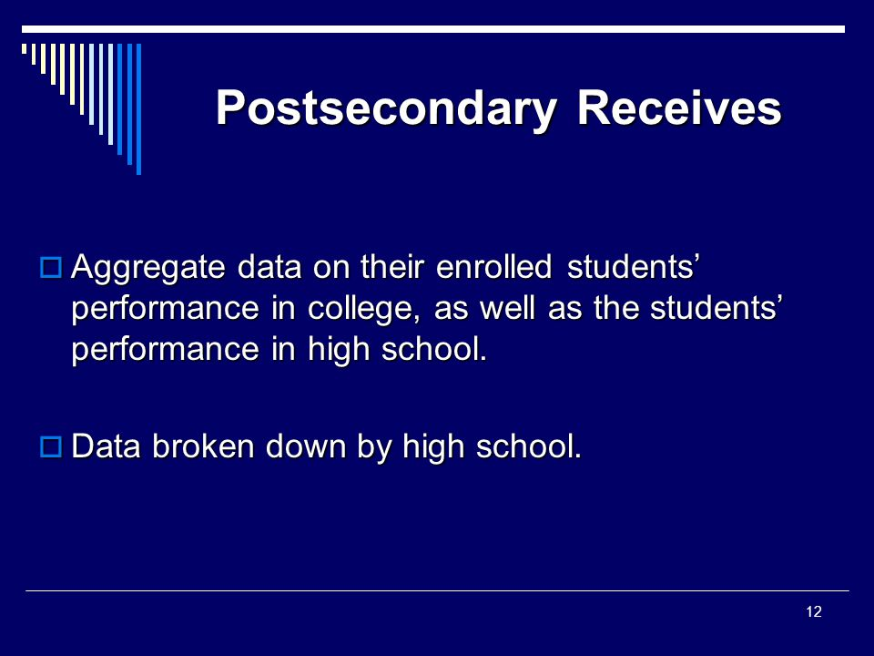 Postsecondary Receives  Aggregate data on their enrolled students' performance in college, as well as the students' performance in high school.