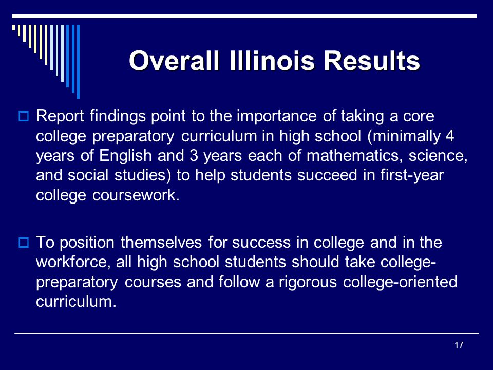 Overall Illinois Results  Report findings point to the importance of taking a core college preparatory curriculum in high school (minimally 4 years of English and 3 years each of mathematics, science, and social studies) to help students succeed in first-year college coursework.