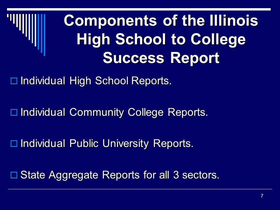 Components of the Illinois High School to College Success Report  Individual High School Reports.