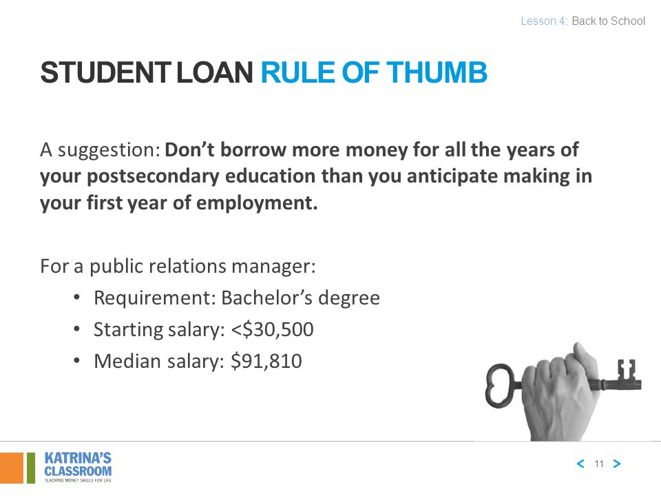 STUDENT LOAN RULE OF THUMB A suggestion: Don't borrow more money for all the years of your postsecondary education than you anticipate making in your