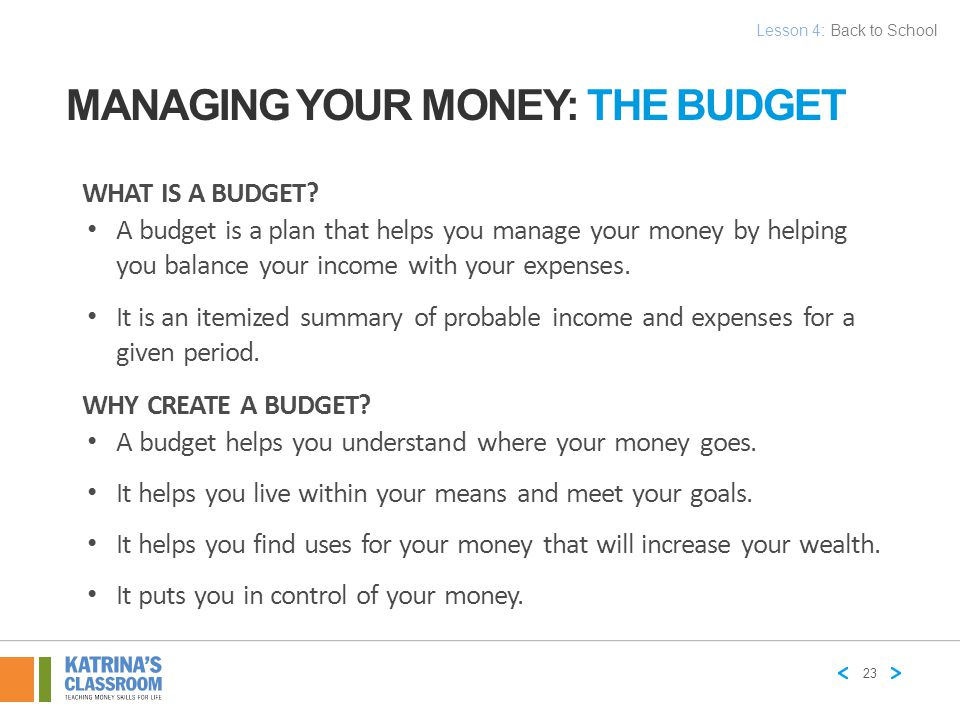 MANAGING YOUR MONEY: THE BUDGET Determine Income Determine Income Identify Expenses & Track Spending Identify Expenses & Track Spending Develop the Budget Plan Develop the Budget Plan Implement & Track Implement & Track Review & Adjust 24 Lesson 4: Back to School