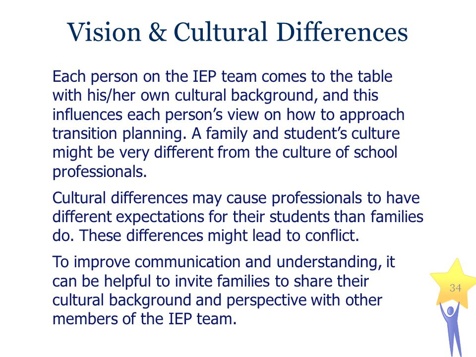 Vision & Cultural Differences Each person on the IEP team comes to the table with his/her own cultural background, and this influences each person's v