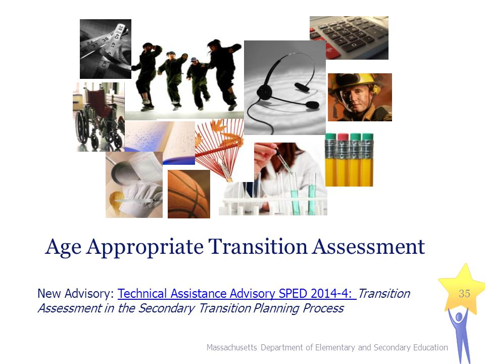 Massachusetts Department of Elementary and Secondary Education 35 Age Appropriate Transition Assessment New Advisory: Technical Assistance Advisory SP