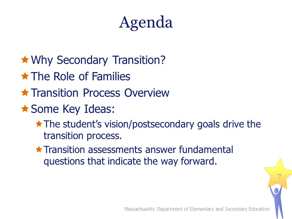 Agenda  Why Secondary Transition?  The Role of Families  Transition Process Overview  Some Key Ideas:  The student's vision/postsecondary goals d