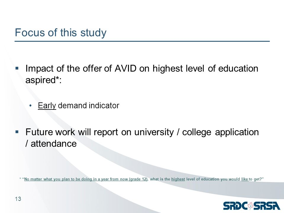 Focus of this study  Impact of the offer of AVID on highest level of education aspired*: Early demand indicator  Future work will report on university / college application / attendance 13 * No matter what you plan to be doing in a year from now (grade 12), what is the highest level of education you would like to get