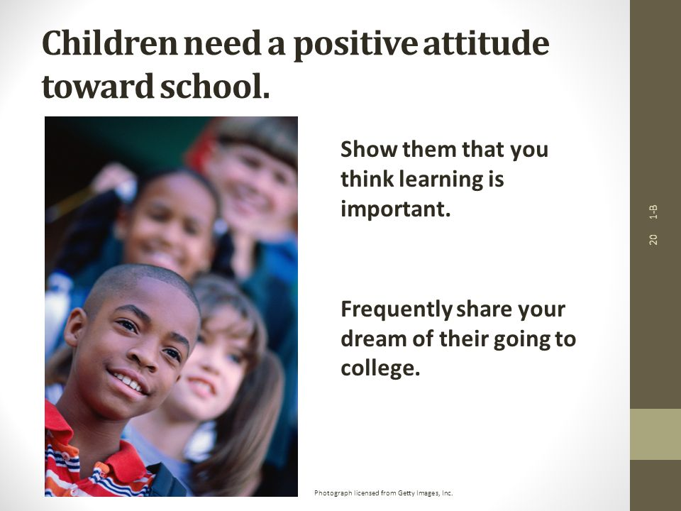1-B 20 Children need a positive attitude toward school.