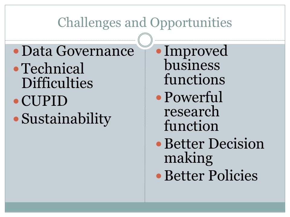 Challenges and Opportunities Data Governance Technical Difficulties CUPID Sustainability Improved business functions Powerful research function Better Decision making Better Policies