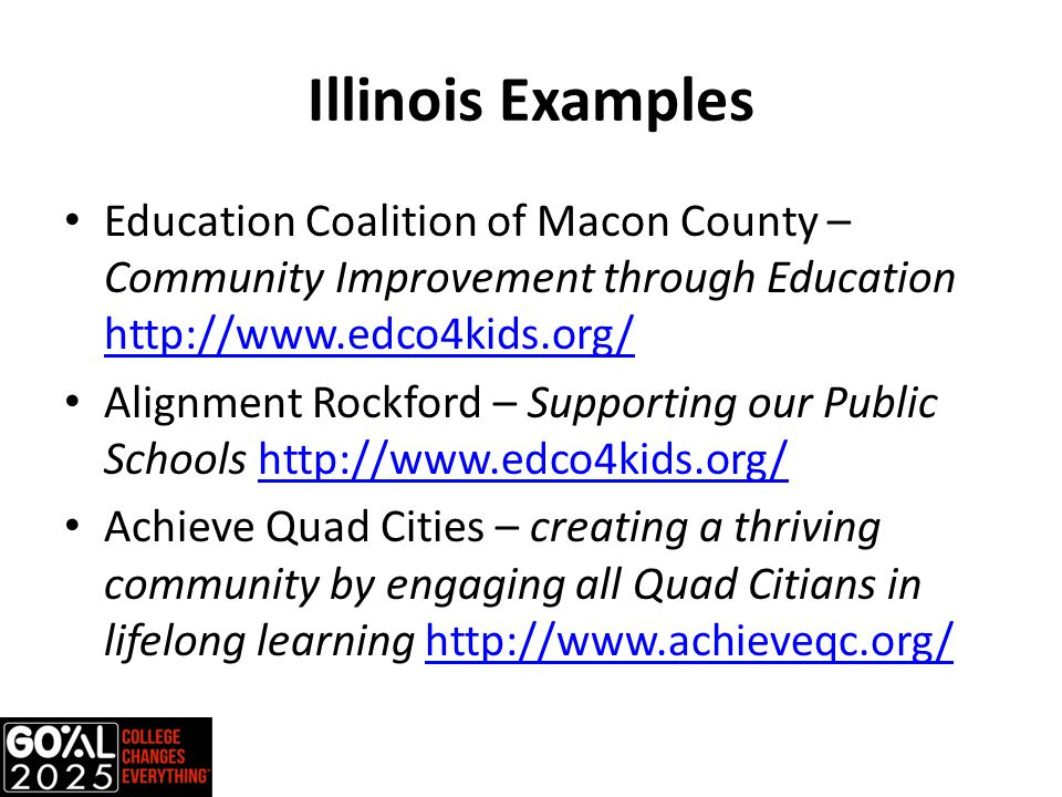 Illinois Examples Education Coalition of Macon County – Community Improvement through Education http://www.edco4kids.org/ http://www.edco4kids.org/ Alignment Rockford – Supporting our Public Schools http://www.edco4kids.org/http://www.edco4kids.org/ Achieve Quad Cities – creating a thriving community by engaging all Quad Citians in lifelong learning http://www.achieveqc.org/http://www.achieveqc.org/