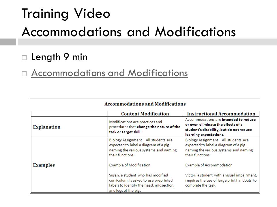 Training Video Accommodations and Modifications  Length 9 min  Accommodations and Modifications Accommodations and Modifications