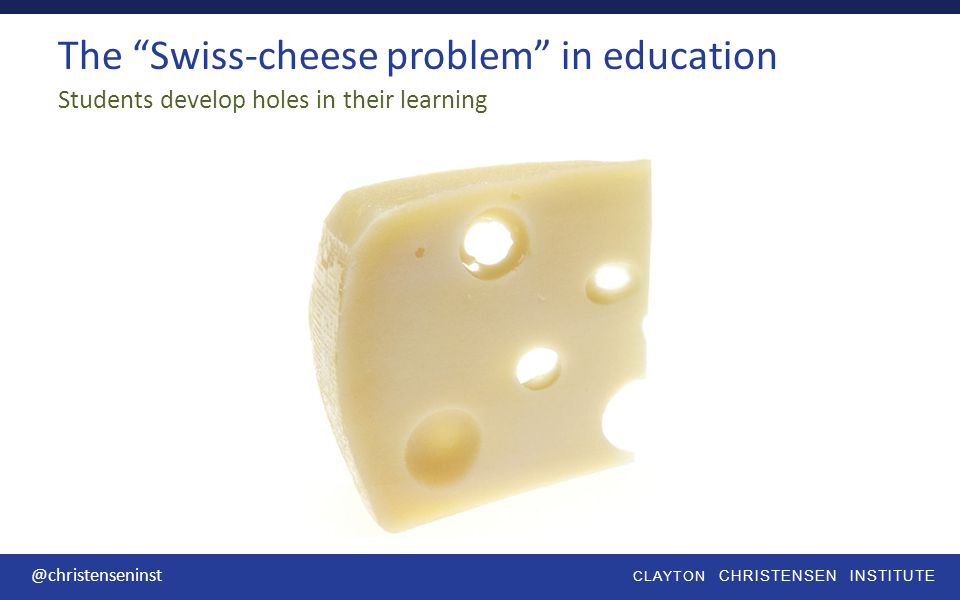 CLAYTON CHRISTENSEN INSTITUTE @christenseninst The Swiss-cheese problem in education Students develop holes in their learning