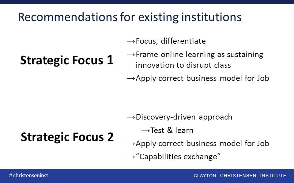 CLAYTON CHRISTENSEN INSTITUTE # christenseninst Recommendations for existing institutions Strategic Focus 1 →Focus, differentiate →Frame online learning as sustaining innovation to disrupt class →Apply correct business model for Job Strategic Focus 2 →Discovery-driven approach →Test & learn →Apply correct business model for Job → Capabilities exchange