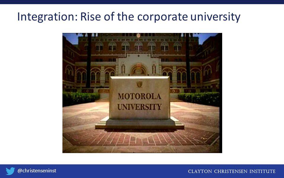 Clayton christensen institute @christenseninst Integration: Rise of the corporate university