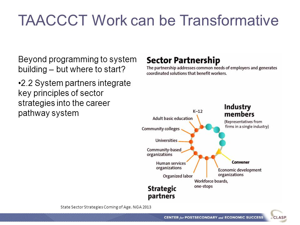 TAACCCT Work can be Transformative Beyond programming to system building – but where to start? 2.2 System partners integrate key principles of sector