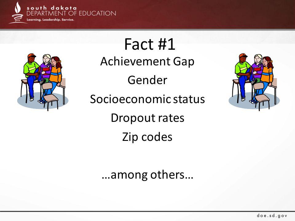 Fact #1 Achievement Gap Gender Socioeconomic status Dropout rates Zip codes …among others…