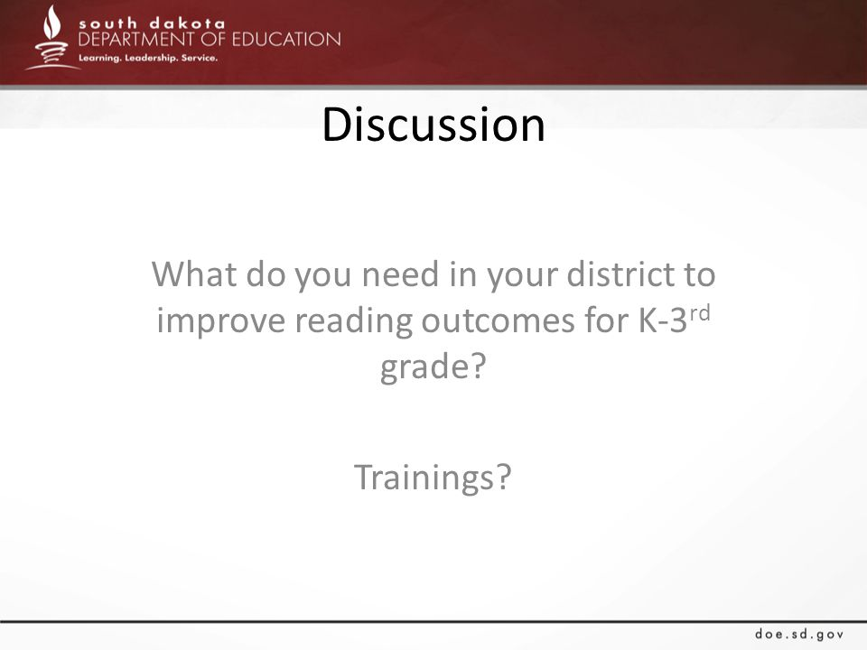 Discussion What do you need in your district to improve reading outcomes for K-3 rd grade? Trainings?