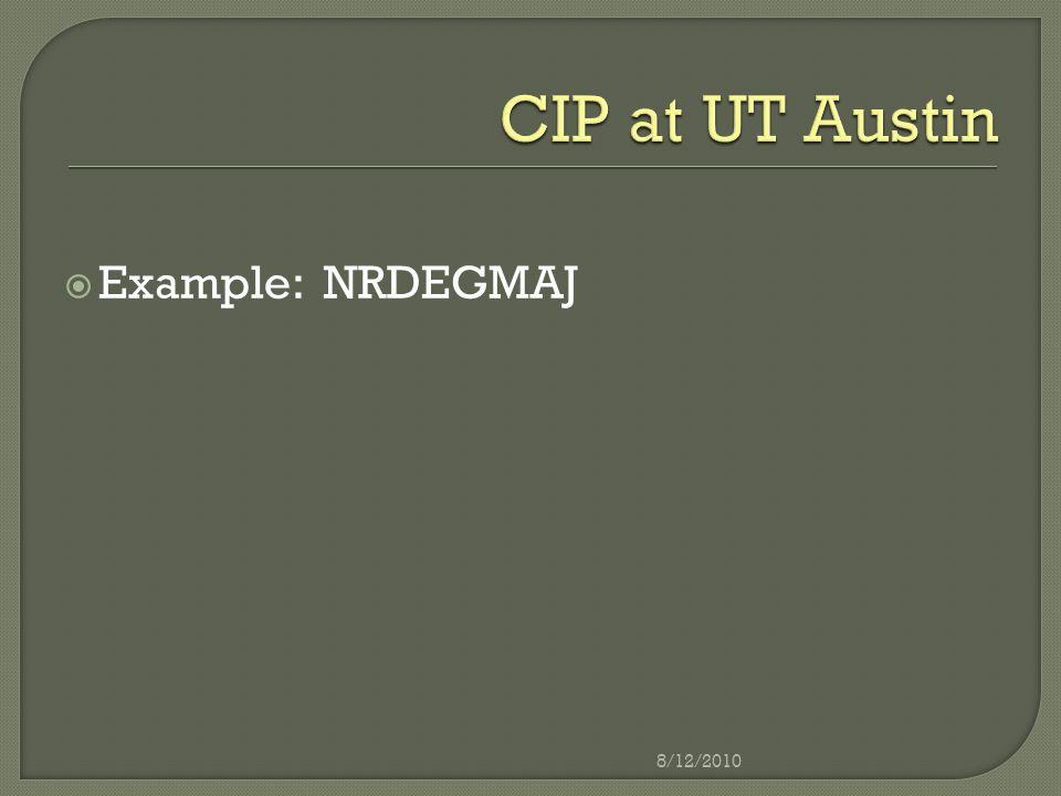  Example: NRDEGMAJ 8/12/2010