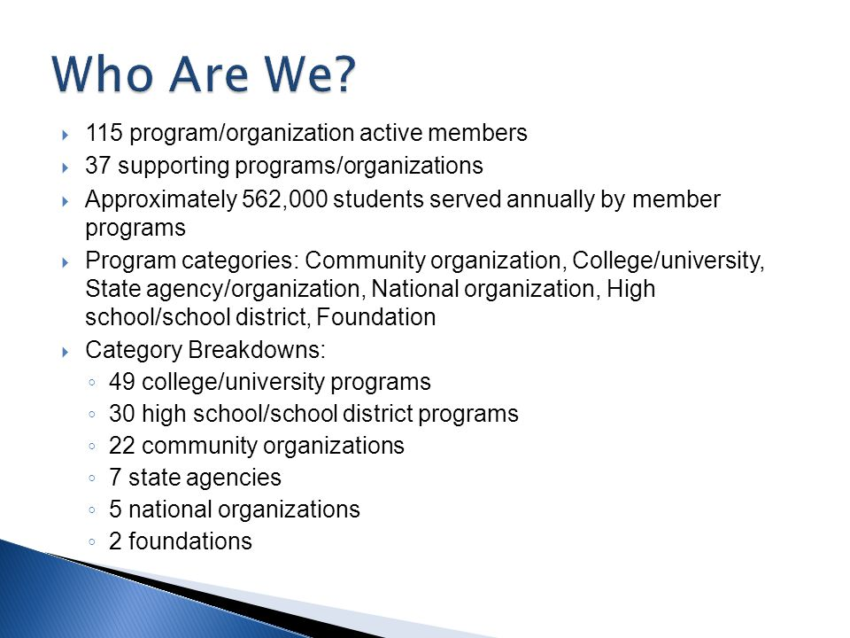  115 program/organization active members  37 supporting programs/organizations  Approximately 562,000 students served annually by member programs  Program categories: Community organization, College/university, State agency/organization, National organization, High school/school district, Foundation  Category Breakdowns: ◦ 49 college/university programs ◦ 30 high school/school district programs ◦ 22 community organizations ◦ 7 state agencies ◦ 5 national organizations ◦ 2 foundations