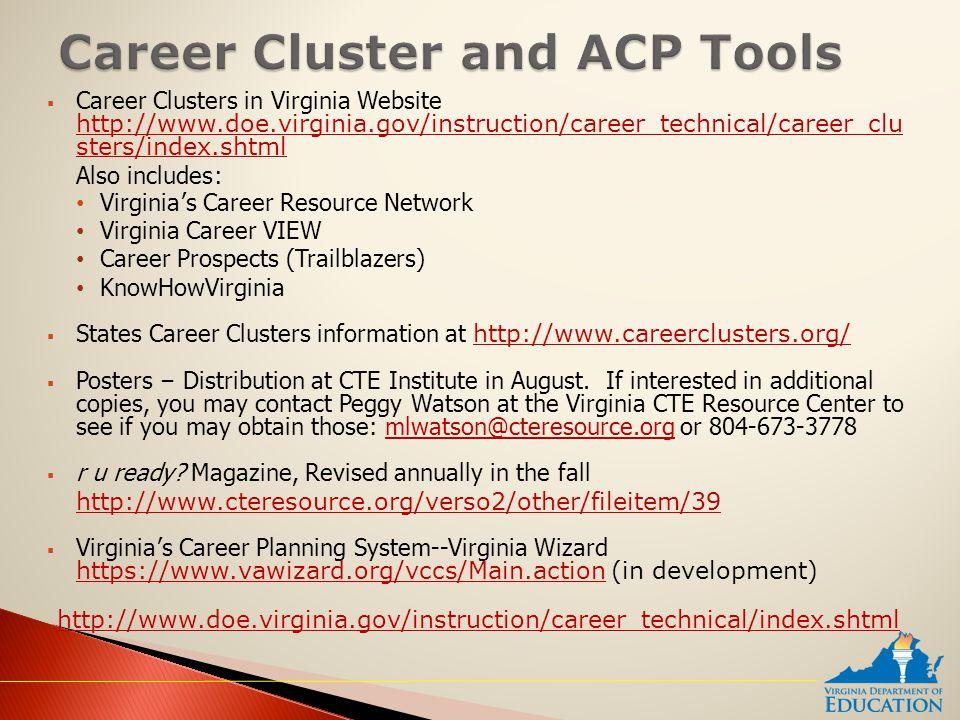  Career Clusters in Virginia Website http://www.doe.virginia.gov/instruction/career_technical/career_clu sters/index.shtml http://www.doe.virginia.go
