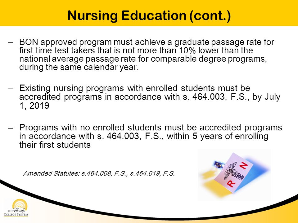 Nursing Education (cont.) – BON approved program must achieve a graduate passage rate for first time test takers that is not more than 10% lower than the national average passage rate for comparable degree programs, during the same calendar year.