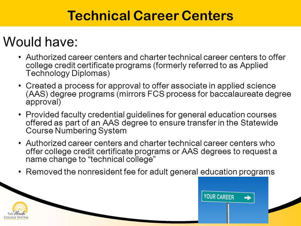 Technical Career Centers Would have: Authorized career centers and charter technical career centers to offer college credit certificate programs (formerly referred to as Applied Technology Diplomas) Created a process for approval to offer associate in applied science (AAS) degree programs (mirrors FCS process for baccalaureate degree approval) Provided faculty credential guidelines for general education courses offered as part of an AAS degree to ensure transfer in the Statewide Course Numbering System Authorized career centers and charter technical career centers who offer college credit certificate programs or AAS degrees to request a name change to technical college Removed the nonresident fee for adult general education programs