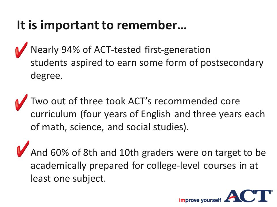 It is important to remember… Nearly 94% of ACT-tested first-generation students aspired to earn some form of postsecondary degree. Two out of three to