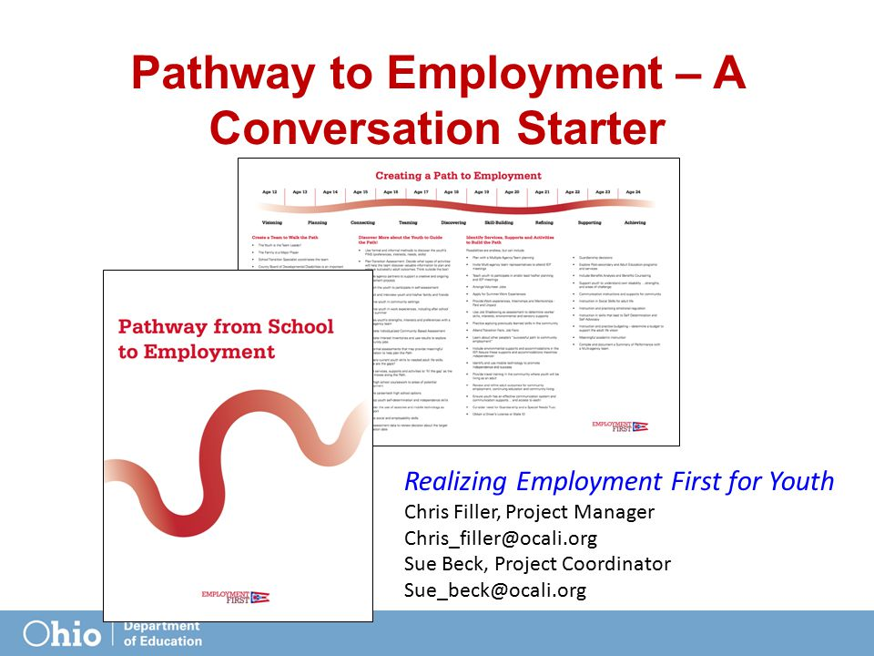 Pathway to Employment – A Conversation Starter Realizing Employment First for Youth Chris Filler, Project Manager Chris_filler@ocali.org Sue Beck, Pro